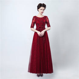 Wholesale Royal Blue Dress Chiffon Applique - Free Shipping Long Dresses for Evenings Party Abiti Cerimonia Donna Sera 2017 Burgundy Lace Backless Prom Dresses with Sleeves