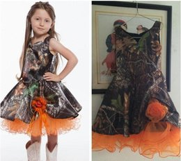 Wholesale Cheap Formal Kid Dresses - Real Photos A-Line Camo Flower Girls Dresses Handmade Flowers Adorned Camouflage Formal Kids Children Wear Tea Length 2017 Cheap
