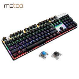 Wholesale Luminous Backlit Keyboard - Mechanical Keyboard 87 104 Anti-ghosting Luminous Blue Black Switch LED Backlit wired Gaming Keyboard Russian stickers