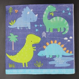 Wholesale Paper Napkins For Birthday Party - Wholesale- 20pcs Cute Dinosaurs Napkin Paper 100% Virgin Wood Tissue for Kids Birthday Party Boy Baby Shower Decoration