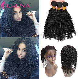 Wholesale Deep Curl Peruvian Hair - 3 Bundles With 360 Lace Frontal Cheap 7A Peruvian Deep Wave Frontal With Bundles 360 Lace Frontal Closure With Deep Curl Bundles