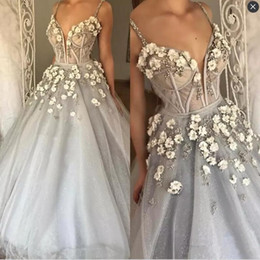 Wholesale Handmade Bone - Gorgeous Sexy Prom Dresses With Spaghetti Straps Handmade Appliques Beads Exposed Boning Evening Dress Bridal Guest Dresses Evening Wear