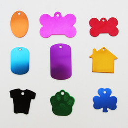 Wholesale Id Dog - 100pcs lot Hot-Sale Aluminum Alloy blank Pet Dog ID Tags Anodized surface laser engravable Identity Tags