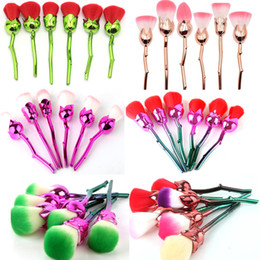 Wholesale Soft 3d Flower - 3D Rose Flower Shape Makeup Brushes Set Cosmetic Tools 6 Pcs Soft Rose Flower Makeup Brush Face Powder Eyeshadow Mermaid Brushes