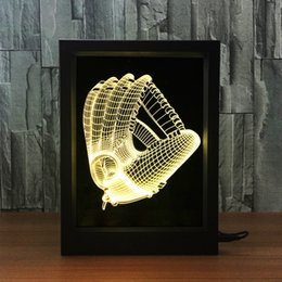 Wholesale Card Glove - 3D Baseball Gloves LED Photo Frame IR Remote 7 RGB Lights AAA Battery or DC 5V Factory Wholesale Dropship Free Shipping