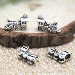 Wholesale Small Pendants Tibetan Silver - 20pcs-- Train Charms , Antique Tibetan silver Small Train Charms pendant 20x11x5mm