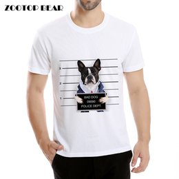 Wholesale T Shirt Bad - Wholesale- Bad Dog Printed T-shirts Animal Bulldog Hipster T shirts Dog Tops Male Novelty Quality Bad Pug Camisetas Summer 2017 ZOOTOP BEAR