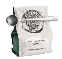 Wholesale Tea Measuring Scoop Spoon - Multifunction Stainless Steel Coffee Scoop With Clip Coffee Tea Measuring Scoop 1Cup Ground Coffee Measuring Scoop Spoon TOP1664
