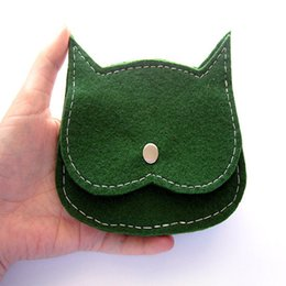 Wholesale Cheap Wallets For Kids - New Product Felt Coin Change Purse Cute Cat Small Wallet Cheap Durable Pocket for Ladies Kids