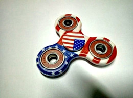 Wholesale Wholesale Usa Free Shipping - Fidget Spinners USA Flag Spinner Hand Spinner Fashion Fingertips Torqbar Brand Tri-Spinner Sticker Wholesale Free Shipping