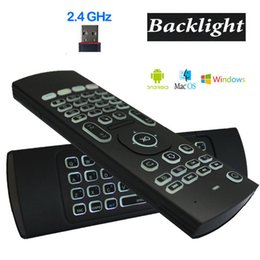 Wholesale Usb Remote Keyboard Mouse - X8 Backlight MX3 Mini Keyboard With IR Learning Qwerty 2.4G Wireless Remote Control 6Axis Fly Air Mouse Backlit Gampad For Android TV Box i8