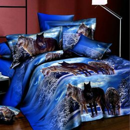 Wholesale Wolf Bedding Twin - Wholesale-Fashion 3D Style Bedlinens Wolves bedclothes 4pcs bedding set queen full double size animal print quilt cover sets