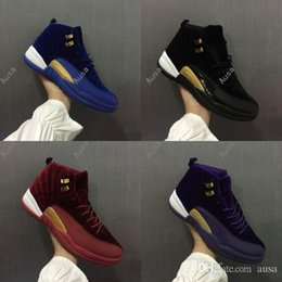 Wholesale Wine Red Boots - 2017 Mens and Womens Basketball Shoes Air Retro 12 Royal Wine Red Purple Black Velvet Heiress Suede Popular Sneakers