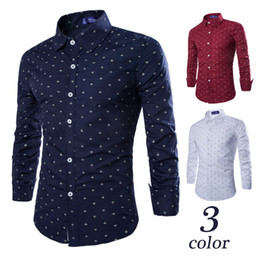 Wholesale Plus Size Spring Clothing - Hot Sales Fashion Anchor Print Men's Dress Shirts Long Sleeve Leisure Clothing Men Single Breasted Shirt Spring Fall Tops Plus Size M-3XL