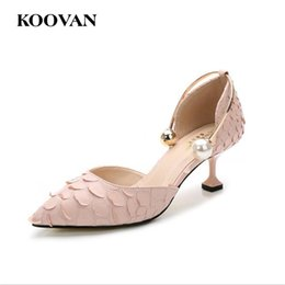 Wholesale Small Medium Heels Women Shoes - Koovan Fashion Pumps 2017 Summer Pointed 5.5 CM High Heel Women Shoes Small Size 32-40 Pearl Buckle Wineglass Heel Snake Skin Pattern