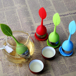 """Wholesale silicone tea leaf infuser - Leaf Silicon Tea Infuser with Tray Multicolor Food Grade Infusers Tea Bag Filter Creative Stainless Steel Tea Strainers 6.2"""" Tall"""
