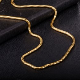 Wholesale Indian Men Wear - Hot Fashion Long Necklace Snake Chain Jewelry 18k Yellow Gold Plated 30MM 610MM Men Chain Necklace Daily Wear