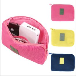 Wholesale Multifunction Cloth Organizer - Fashion Multifunction Compact Storage Bag Digital Data Cables Flash Drives Organizers Travel Case Nylon mesh Cloth Pouch