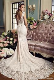 Wholesale Mikaella Wedding Dresses - full lace elegant mermaid wedding dresses 2017 mikaella bridal sleeveless illusion bateau sweetheart neckline v back chapel train