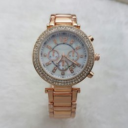 Wholesale Lady Watches Silver Gold - Luxury Famous designer women rhinestone watches fashion luxury Dress Michael ladies watch Imitation Conch Dial Ma'am Watches wholesale