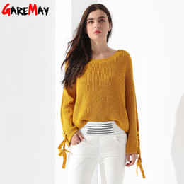 Wholesale Women S Pull Sweaters - Loose Knitted Sweater Women Pull Femme Manche Longue O Neck Long Flare Sleeve Tops Pullover Knit Casual Sweater Ladies GAREMAY