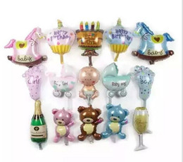 Wholesale Shower Baby Bottle - Champagne cup beer Bottle balloons Boy Girl Baby Shower Foil helium Balloons Party Decoration Kids birthday wedding