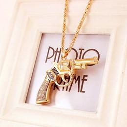 Wholesale Hand Gun Charms - Wholesale-2016 Fashion Men's Gun Pendant Necklace Rhinestone&Crystal Charm Pistol Hand Gun Jewelry Fashion Free Shipping Gifts Collier
