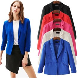 Wholesale Candy Colored Blazers - Spring Autumn Candy-colored Blazer 3 4 Sleeve Notched OL Slim Office Women Lady Suits Short Coat Casual Jacket