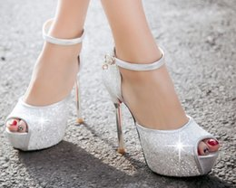 Wholesale Silver Low Heeled Pumps - 13cm Designer sequins fish mouth white color pu leather high heels shoes wedding shoes party evening shoes for Bridal Shoes huihui2014