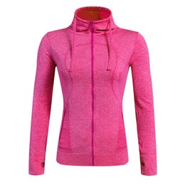 Wholesale Sportswear Fitness Wear - Wholesale-Brand Fitness Yoga Running Jackets Women Gym Wear Long Sleeves Hooded Coat Compression Training Clothing for Sportswear 8001