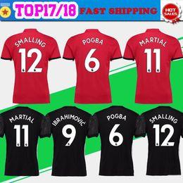 Wholesale Martial Uniforms - New #6 POGBA home red Soccer Jersey 17 18 #19 RASHFORD away black Soccer Shirt Customized #11 MARTIAL football uniform Sales SIZE S-4XL