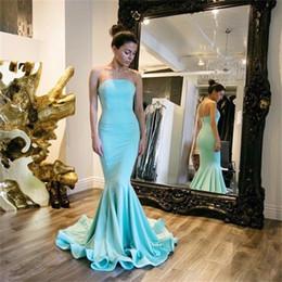 Wholesale Cheapest Red Strapless Dress - Dress Long Party Vestido Festa Longo Noite Casamento 2017 Strapless Blue Satin Mermaid Evening Dresses Cheapest