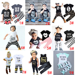 Wholesale Baby Leopard Harem - DHL 9 Styles Kids Ins Clothing Sets Baby Fashion Suits Girls Letter T-Shirt & Pants Infant Casual Outfits Boys Ins Tops & Harem Pants 1-5T