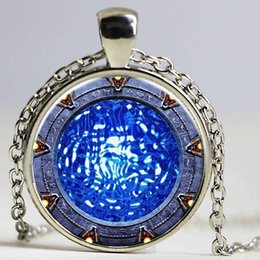Wholesale rhinestone gun necklace - Stargate Portal Atlantis Necklace Glass Photo Cabochon Necklace Glass Necklace Silver Plated Gun Black Bronze pendan