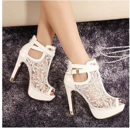 Wholesale Heels Peep Toe Buckle - 2018 New Sexy Lace Hollow Out Peep Toe Ankle Boots Buckle Metal Heels Breathable Chic Wedding Shoes