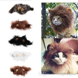 Wholesale Ear Lion Head - Pet Cat Dog Emulation Lion Hair Mane Ears Head Cap Autumn Winter Dress Up Costume Muffler Scarf decoration cosplay wn214