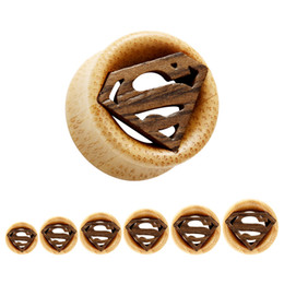 Wholesale Superman Ear Tunnels - Free shipping wood ear plugs and tunnels double flared flesh tunnel body jewelry piercing Superman logo 12-30mm free shipping
