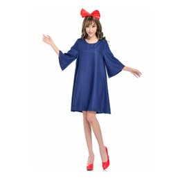 Wholesale Japanese Princess Costumes - One-Piece Dress Princess Goddess Movie Cosplay Blue Dresses Headwear Halloween Christmas Carnival Oktoberfest Female Polyster