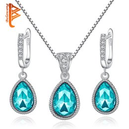 Wholesale Sterling Silver Ocean Jewelry - BELAWANG Vintage Wedding Bridal Jewelry Sets 925 Sterling Silver Angel Ocean Tear Design Blue&Purple Crystal Earrings Pendant Necklace