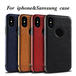 Wholesale Black Leather Phone Case - For iPhone X 8 7 6s Samsung Note8 S8 S7 S6 New Business Leather Pattern Stitching Phone Case TPU Soft Shell Full Protection Anti-drop Case