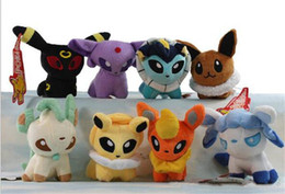 Wholesale Pokemon Umbreon Vaporeon - Poke Plush Toys Umbreon Eevee Espeon Jolteon Vaporeon Flareon Glaceon Leafeon Animals Soft Stuffed Dolls toy D857
