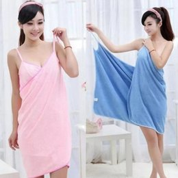 Wholesale Towel Dresses Beach - Wearable Bath Towel Skirt Adults Absorbent Fast Dry Magic Women Ma am Beach Spa Bathrobes Bath Wearable Girl Dress Spa Sexy Microfiber