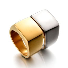 Wholesale Solid Gold Plated For Men - Top Quality Never Fade 316L Stainless Steel Biker Ring High Polished Solid Punk Rock Ring Can Engraved Ring For Men Gift