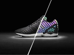 Wholesale Shoes Zx - The chameleon men's and women's shoes ZX FLUX XENO new reflective black snake spirit leisure shoes