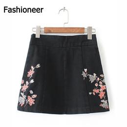 Wholesale Mini Jupe - Fashioneer Summer 2017 Denim Skirts Short Jeans Skirts Women Casual Rose Embroidery High Waist Mini Skirt Elegant Jupe Femme Saia Jeans