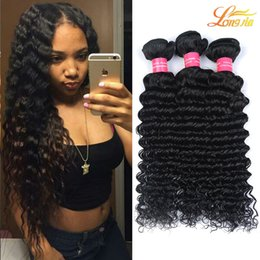 Wholesale Dyed Virgin Deep Weave - Brazilian Virgin Human Hair Deep Wave Bundles Extension Unprocessed Brazilian Human Hair Weave Double Weft Natural Color Can Be Dyed