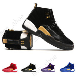 Wholesale Rubber Wine Corks - 2017 Good Quality Jump man Air Retro 12 Mens Womens Basketball Shoes With Box Royal Wine Red Purple Black Velvet Heiress Suede Free Shipping
