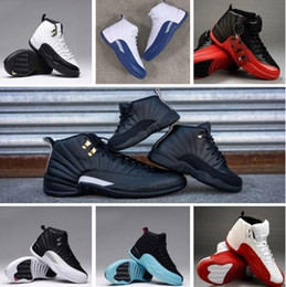 Wholesale Retro Wool - Air Retro 12 Wool Basketball Shoes Deep Loyal Blue 12S Black White OVO Gym Red Flu Game Shoes 16 color