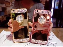 Wholesale Ring Mirror - For iPhone 7 Plus For iphone X 8   8 Plus ,Luxury Diamond Soft Mirror With 360 Ring Case For iPhone 6 6S Plus 5 5S SE 7 7plus Case