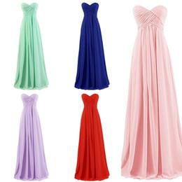 Wholesale Mint Sweetheart Dress - 2017 New Cheap Beach Bridesmaids Dresses Sweetheart Pleats A Line Zipper Back Long Blush Mint Navy Blue Maid Of Honor Wedding Guest Dress